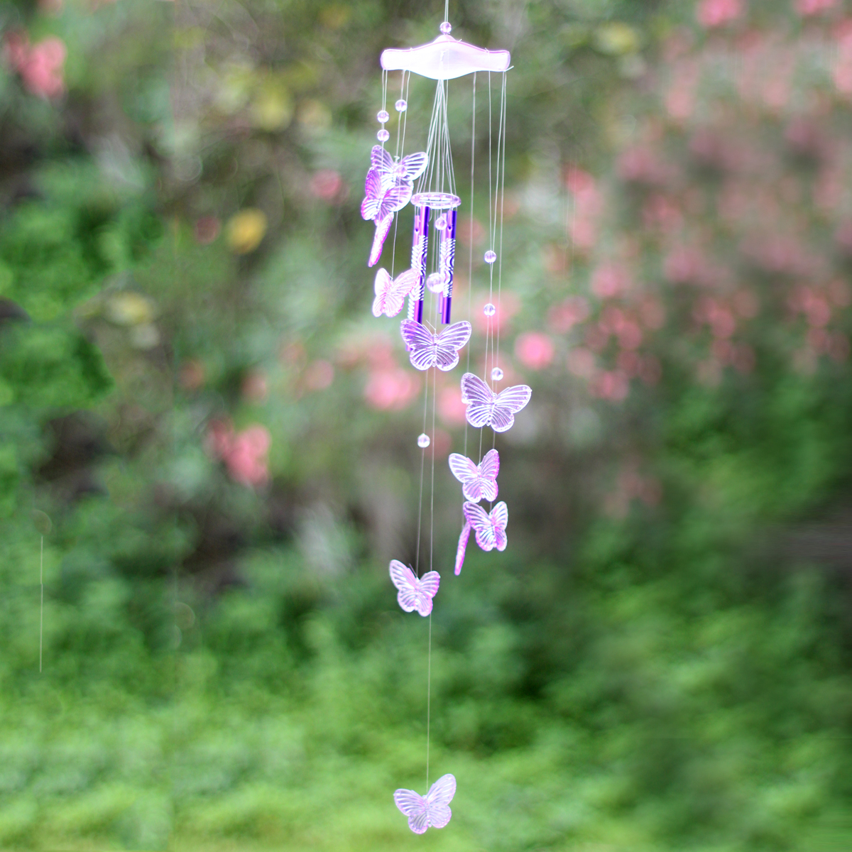 Creative Crystal Butterfly Mobile Wind Chime Bell Garden Ornament ...