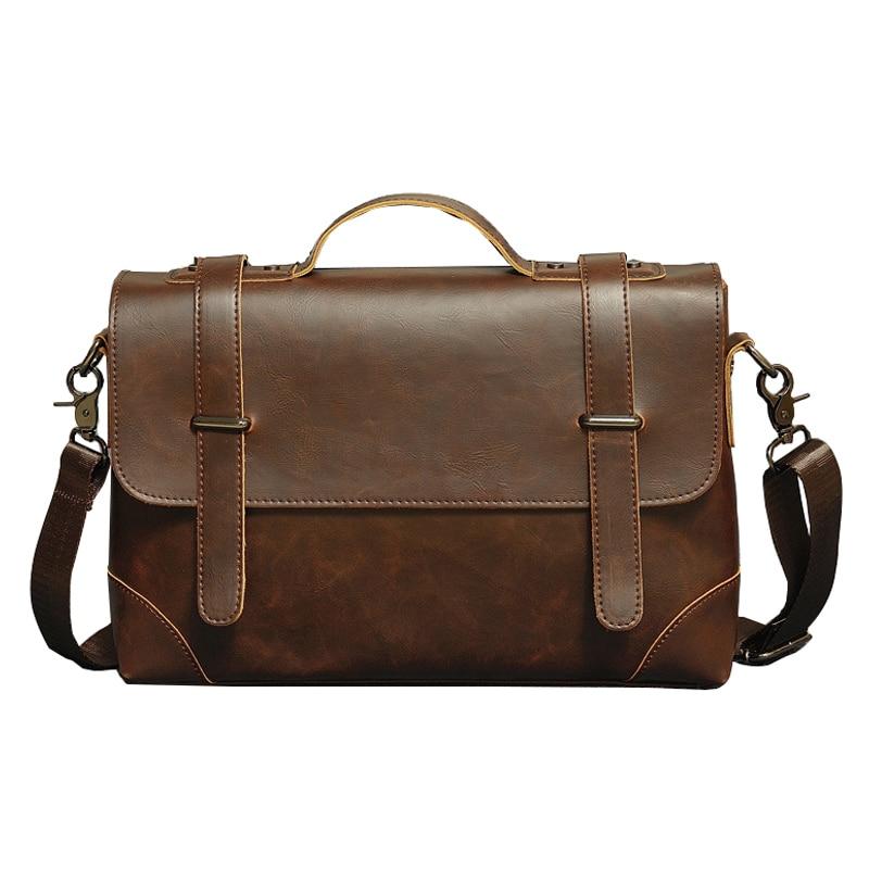New Men's Messenger Bags for Men Cross Body Bag High Quality Crazy Horse Pu Leather Men Shoulder Bags Business Casual Handbag цена