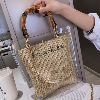 Bamboo Handle Straw Weave Handbag Women's Bags 2019 Fashion Letter Printed Clear Shoulder Bag Messenger Summer Handbags Tote Bag