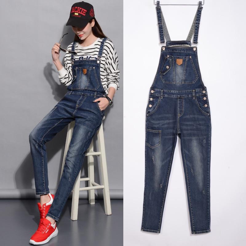 S-3XL big size Girl jumpsuits jeans Straps Vintage Blue Denim Overalls Women Rompers Female Regular Elastic Denim Pencil Pants смартфон highscreen fest xl pro blue
