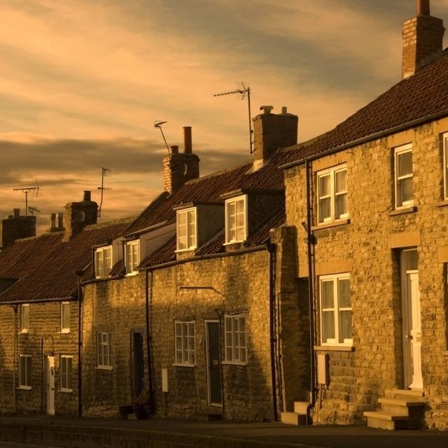 Houses At Dusk  Thaornton Le Dale  Yorkshire  England Poster Print (17 x 11)