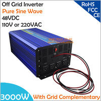 3000W DC48V Off Grid Pure Sine Wave Solar or Wind Inverter, City Electricity Complementary Charging function with LCD Screen