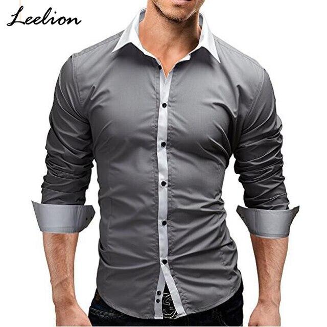 Leelion 2018 Весенняя рубашка Для мужчин одежда с длинным рукавом Slim Fit Сорочки выходные для мужчин модные Повседневное простой сплошной Для мужчин Camisa masculina дропшиппинг