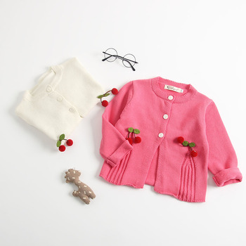 Girls Infant Cherry Print Spring Autumn Cardigans Princess Color Lovely Kids Baby Toddler Knitted Sweaters