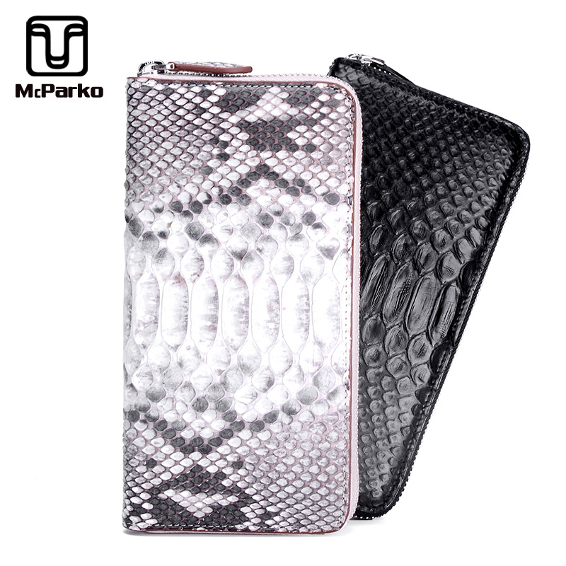 huge selection of 1db0c d61f3 US $104.29 25% OFF McParko Clutch Wallet Female Luxury Snakeskin Women  Wallet Genuine Leather Python Card Holder Wallet Black Phone Purse For  Men-in ...