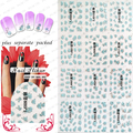 2015 NEW 90PCS/lot 3D nail sticker  TJ001-024Blue silver Stylish Decal phototherapy nail hook flower Blue silver hot