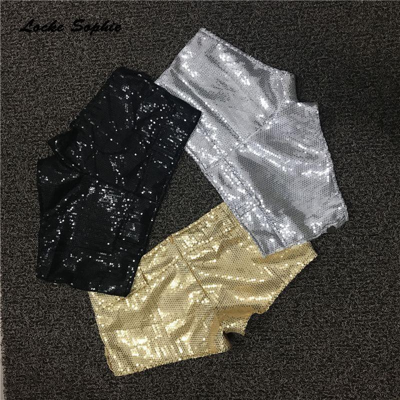 1pcs Low Waist Sexy Women's Shorts 2019 Summer Cotton Sequins Splicing Zipper Dance Shorts Ladies Skinny Super DJ Short Pants