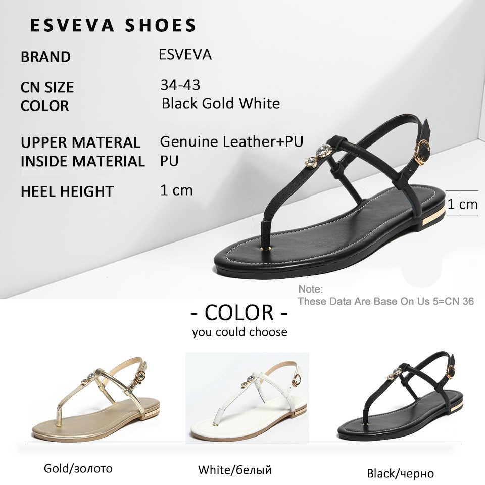 ESVEVA 2020 kobiety sandały dekoracja butów kryształ krowa skóra PU letnie klapki niskie obcasy Slingback kobiety buty rozmiar 34-43
