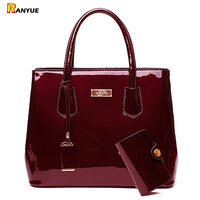 Luxury Patent Leather Bags Women Handbags Shoulder Tote Bag Female Messenger Crossboday Bags Famous Brand Set Sac A Main Femme