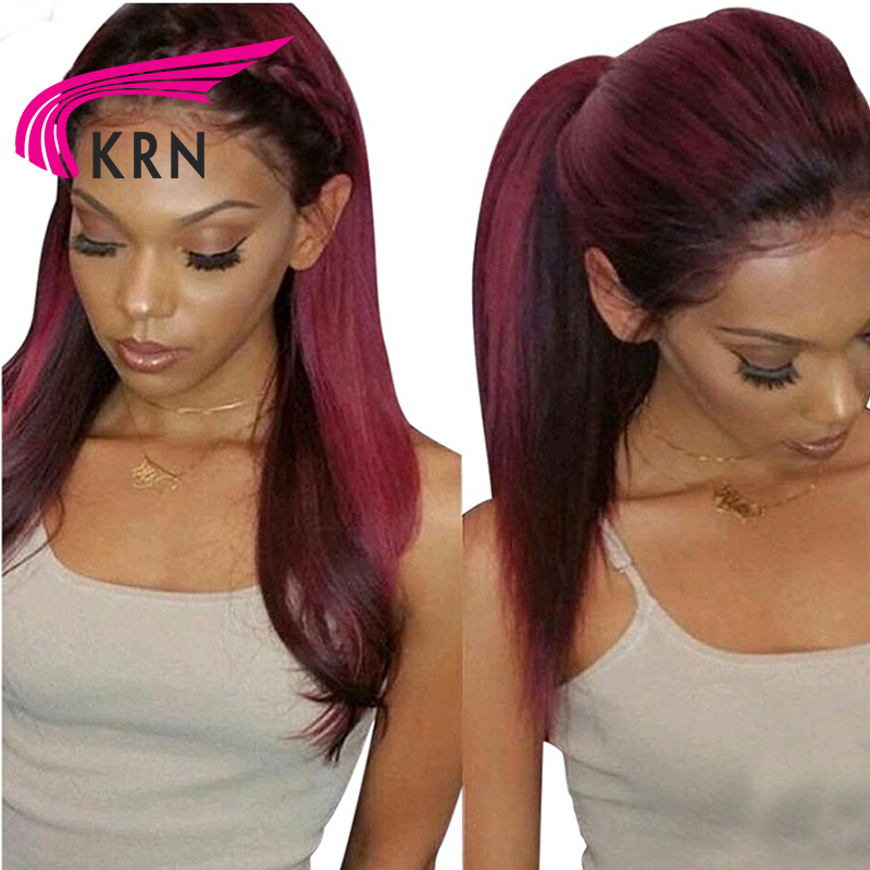 1b 99j Ombre Lace Front Wig With Baby Hair Pre Plucked Human Hair Brazilian Lace Front