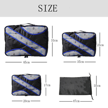 QIUYIN Travel Bags packing cubes 4pcs/set Fashion Double Zipper Waterproof Polyester Men and Women Luggage