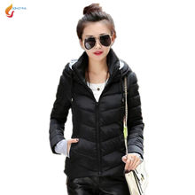 JQNZHNL 2018 Winter Women cotton Jacket Short section Korean Slim Hooded Eiderdown cotton Jacket Thicken Large size Jacket AS128(China)