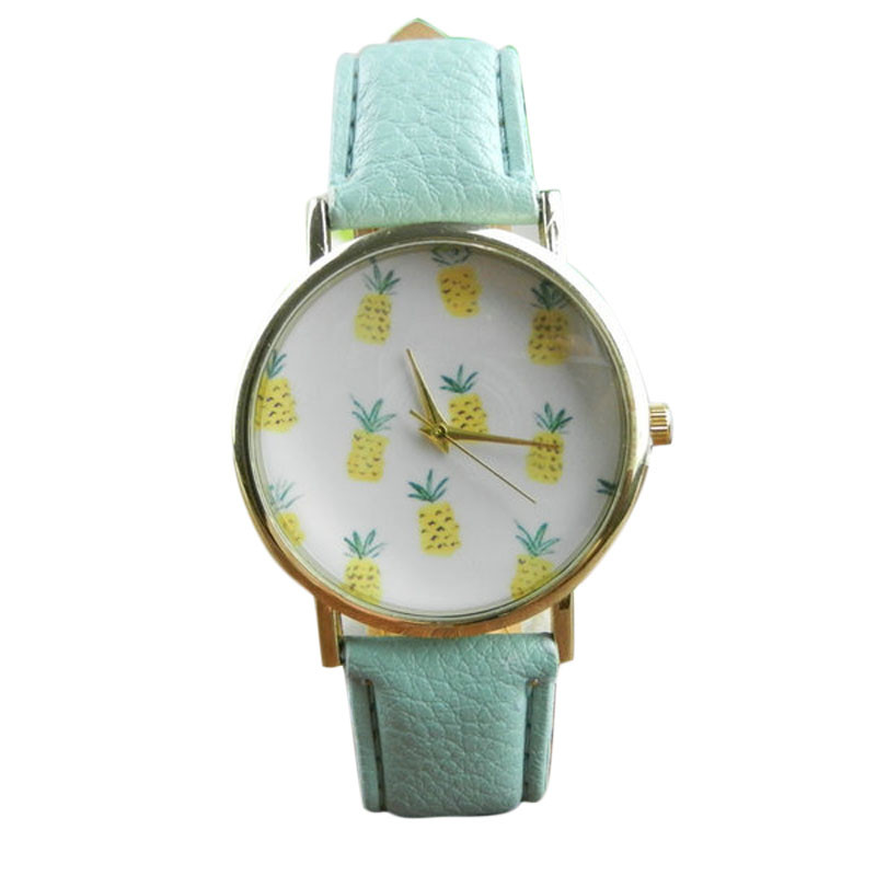 Women Watch Superior New Pineapple Printing Pattern PU Leather Quartz Watch Casual Bracelet Fashion Relogio Feminino Gift Ma16