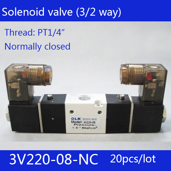 20pcs Free shipping 3V220-08-NC solenoid Air Valve 3Port 2Position 1/4 Solenoid Air Valve Single NC Normal Closed,Double control 1 2bspt 2position 2way nc hi temp brass steam solenoid valve ptfe pilot