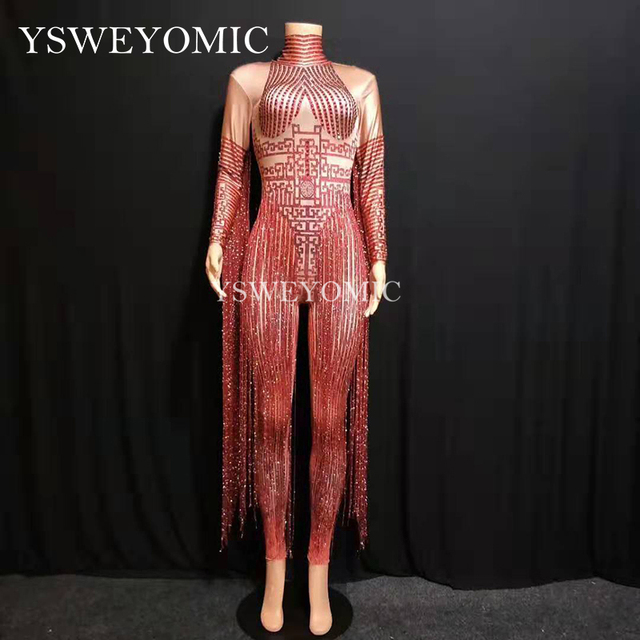 Shiny Crystals Red bodysuit Sexy Long Tassel Women Outfit Nightclub Female Singer Costume Stage Dance Performance Wear YS64