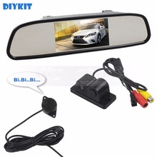 DIYKIT Wired Auto Parking System Waterproof Parking Radar Sensor Car Camera + 4.3 inch Car Mirror Monitor Rear View Monitor