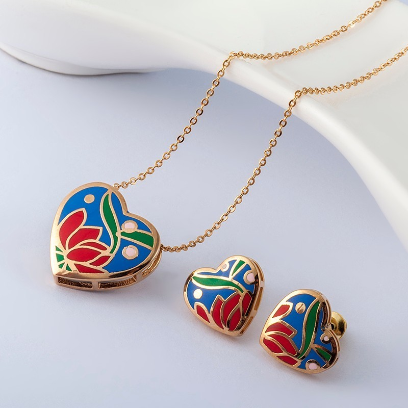 R&X Dubai Fashion Joias Ouro  Girls Engagement Gift Bridal Jewelry Sets Necklace/earrings Heart Sieraden Fine Costume Jewelry