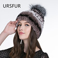 2017 New URSFUR Winter Russian Hats Real Rex Rabbit Fur Beanies Hat with Fox Fur Ball Pom Poms Knit Female Caps 9 Colors