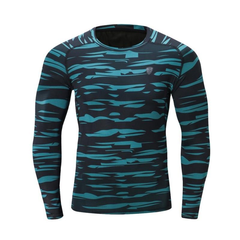 Камуфляж длинный фитнес полиэстер зеленый серый быстросохнущая одежда приталенное с длинными рукавами футболка - Цвет: G