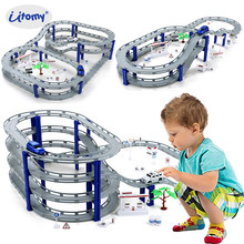 DIY Multi-Track Rail Car Building Block Railway train set,Spiral Track Roller Coaster Electric Car Educational Assembly Toys(China)