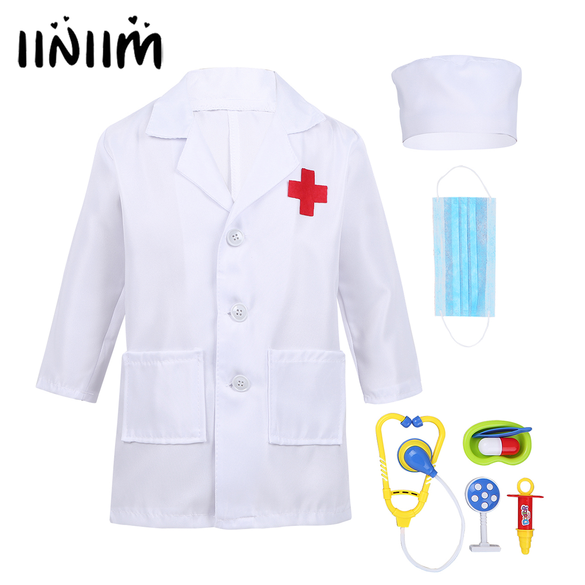 Kids Boys Girls Doctor Play Coat with Cap Mask Doctor Play Tools Halloween Costumes for Kids Cosplay Novelty Party Hot Dress Up