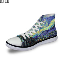 Men Casual Painting Art Print Shoes Male Lace-up Vulcanized High-Top Ca