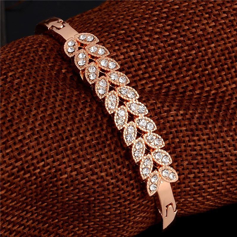 SHUANGR 1pc Women Trendy Gold Color Wheat Clear Austrian Crystal Bracelets & Bangles Fashion Jewelry TZ293