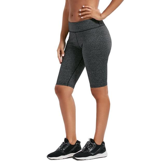 58bc3c1b0ac1e High Rise Yoga pants 3/4 Capris gym shorts Women fast dry summer  antipilling Black Grey Melange OUTFITS running capris leggings