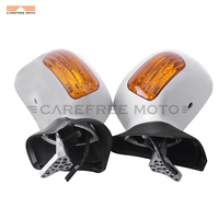Pearl White Motorcycle Rear View Mirrors Turn Signal Light Case for Honda Goldwing GL1800 2001 2011