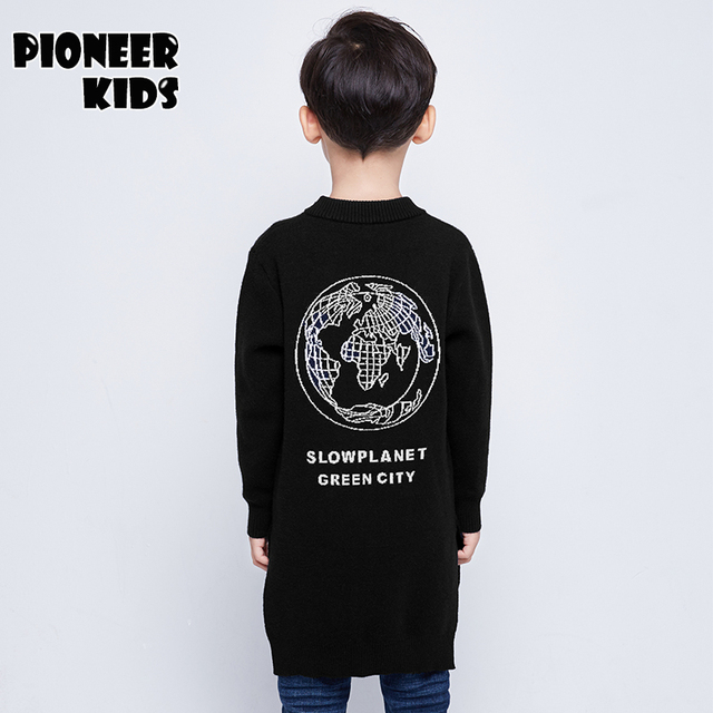 Pioneer Kids 2016 New Boy Sweater Solid Color Kid Cardigan O-neck Long long pattern High Quality Autumn Child Knitted Outwear