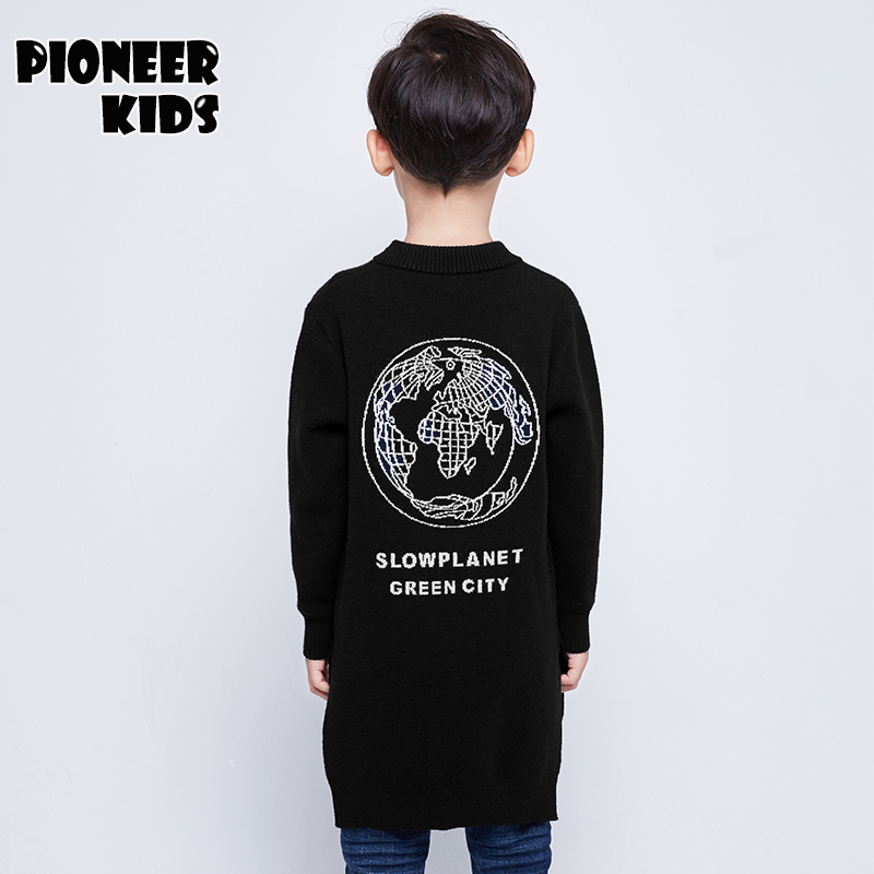 Pioneer kids new spring Boy Sweater solid color kids long cardigan sweater pattern o neck casual quality child knitted outwear casual v neck flouncing hem single breasted long sleeves solid color women s knit cardigan