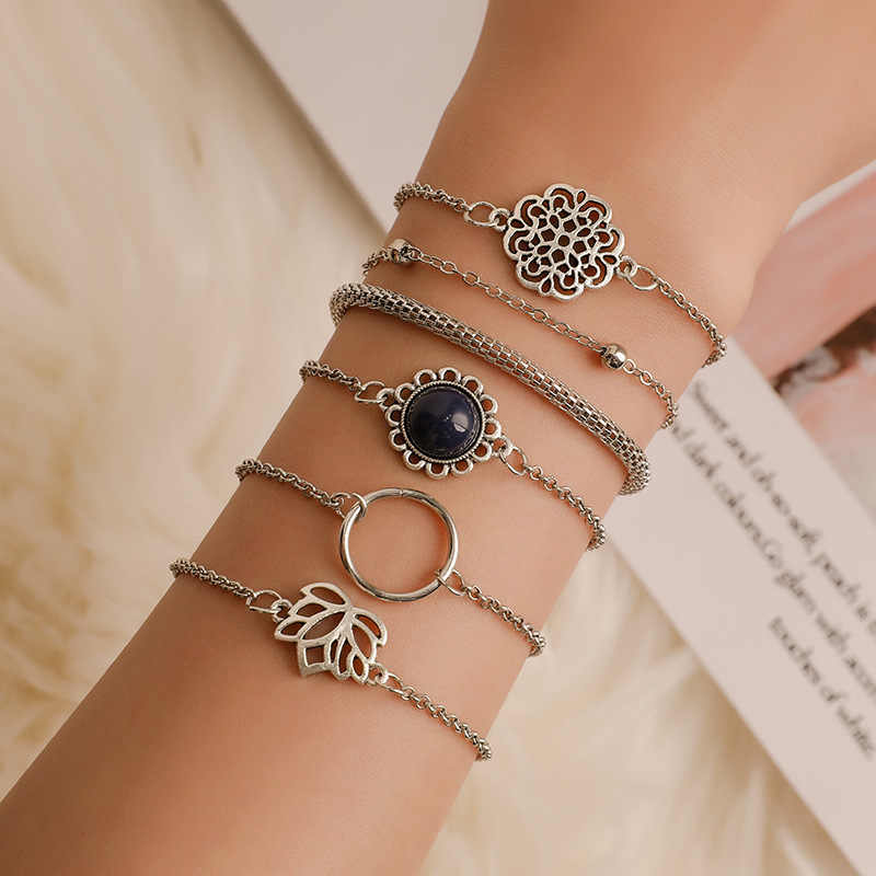 6Pcs/Set Fashion Punk Chain Moon Leaf Crystal Geometry Open Bracelet Set Women Charm Beach Jewelry Drop Shipping