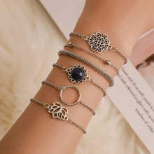 6Pcs/Set Fashion Punk Chain Moon Leaf Crystal Geometry Open Bracelet Set Women Charm Beach Jewelry Drop Shipping(China)