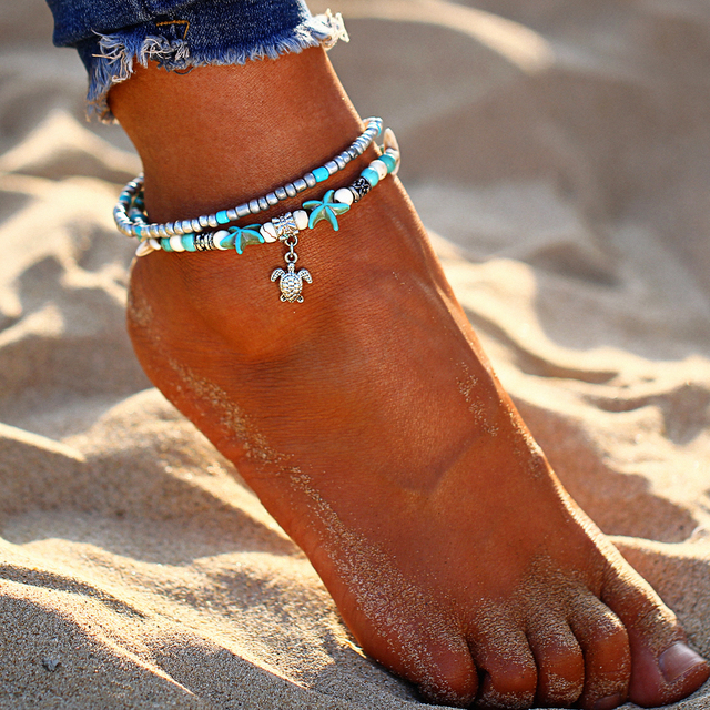 Bohemian Multiple Layers Starfish Turtle Beads Anklets For Women