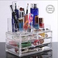 Chef panier boîte de rangement maquillage organisateur boîte de rangement En Acrylique transparent cristal cosmétique boîte à bijoux en rack