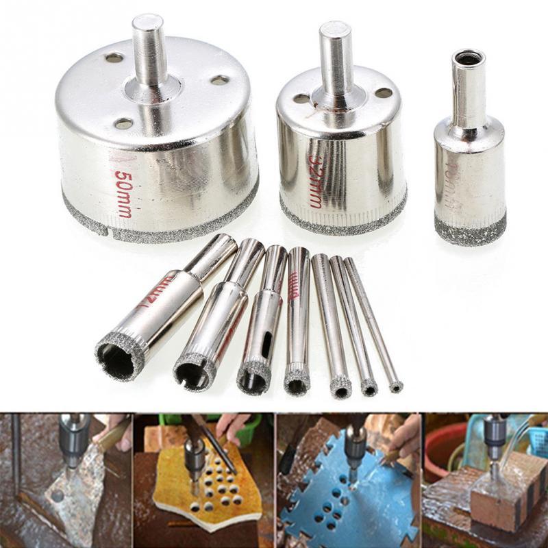 Drill Bit Hole Drill Saw Set 10 Pcs 3-50mm Diamond Drill Tool Glass Ceramic Marble Tile Hole Drill Kit Bead Rounding Sander #15
