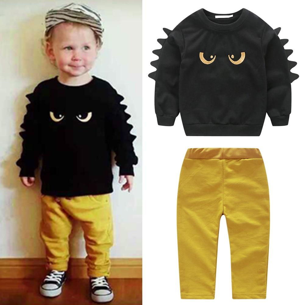 2017 Autumn Fashion Boys Clothing Set Cartoon Monster Long Sleeve Sweatshirt+Pants 2Pcs/Set Baby Outfits Set Children Clothing new fashion boys cartoon locomotive set thomas