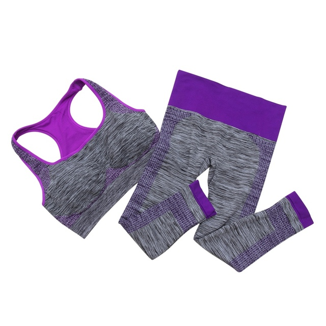 Women Causal Sets Quick Dry Sleeveless Vest Body Shape Push Up Wire Free Padded Seamless Breathable Bra+Long Pants Sets 2Pcs/set