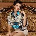 Inverno 2016 de alta qualidade real de 100% silk Scarf Shawl enrole hijab para as mulheres senhora moda feminina Lenços 175*52 cm