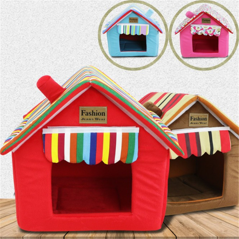 Fashion Striped Removable Cover Mat Dog House Dog Beds For Small Medium Dogs Pet Products House Pet Beds for Cat image