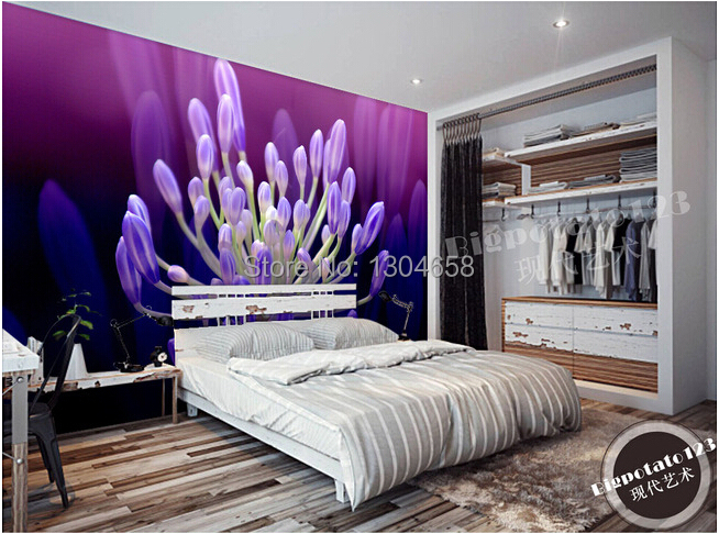 Aliexpress.com : Buy Custom 3D large murals, beautiful purple flowers  flower core wallpaper, living room TV setting wall contact paper from  Reliable paper ...