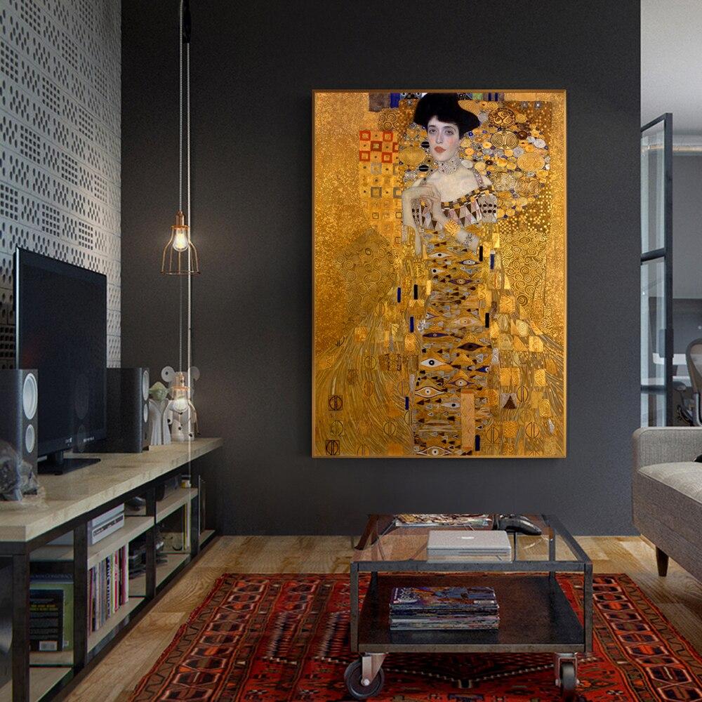 Gustav Klimt Adele Bosh Oil Paint   Reprint On Framed Canvas Wall Art Home Decor