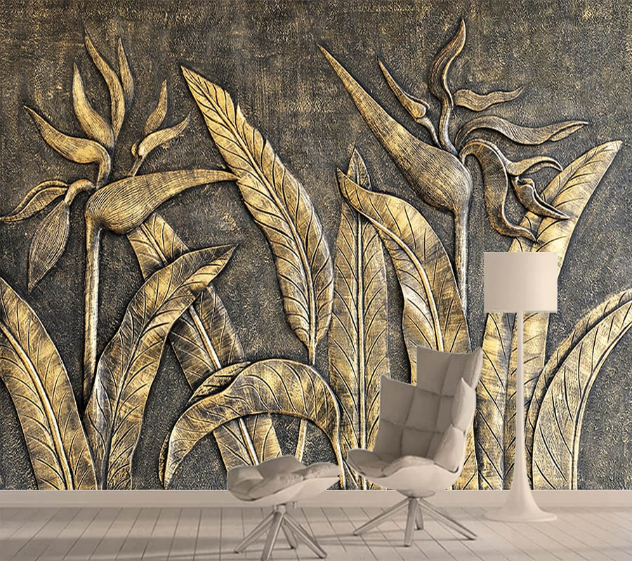 8d Crystal Silk Gold Bird Wallpaper Mural 3d For Living Room Wall Paper Wallpapers Sculpture Paradise Bedroom Rolls Background