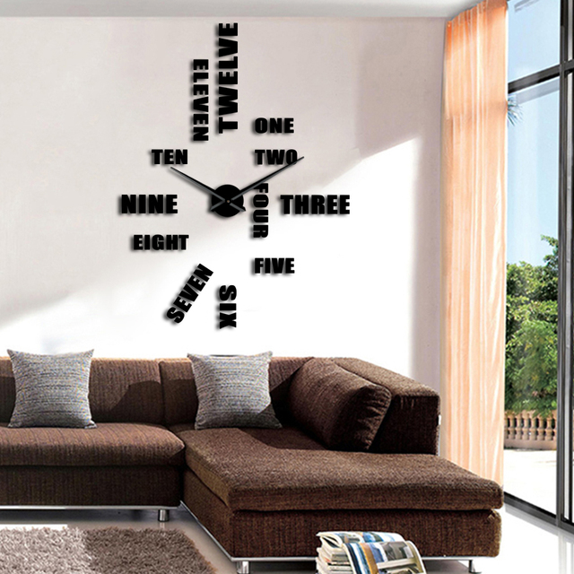 1Piece 3D Wall Watch Large Wall Clock DIY English Letter Number Wall ...