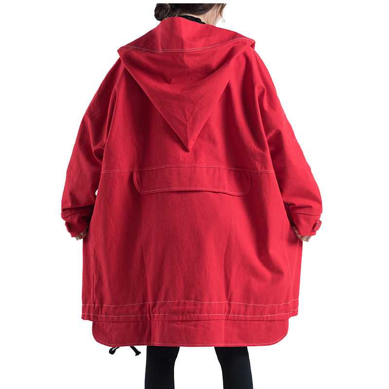 Autumn Oversized Hooded Jacket Female Long Plus Size Windbreaker Harajuku Jacket Hip Hop Funny Women Coats And Jackets