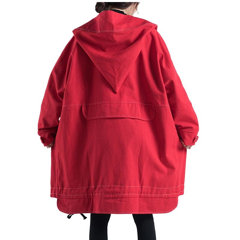Autumn Oversized Hooded Jacket Female Long Plus Size Windbreaker Harajuku Jacket Hip Hop Funny Women Coats And Jackets