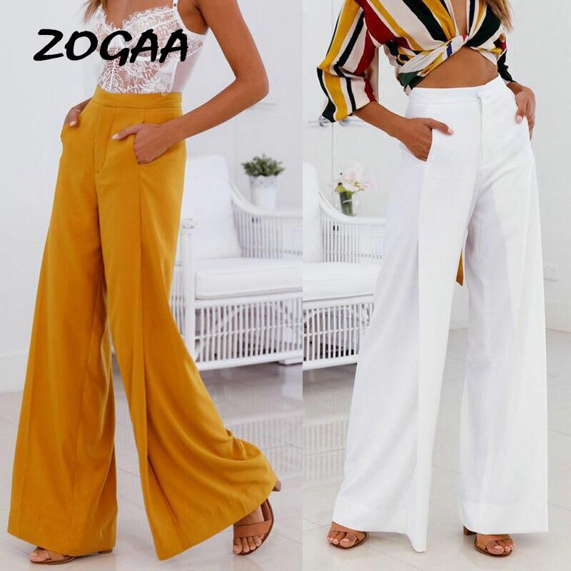 ZOGAA Women Casual High Waist Loose   Wide     Leg     Pants   Yellow White Streetwear   Pants   Trousers Female Elegant Loose Zipper Long   Pants
