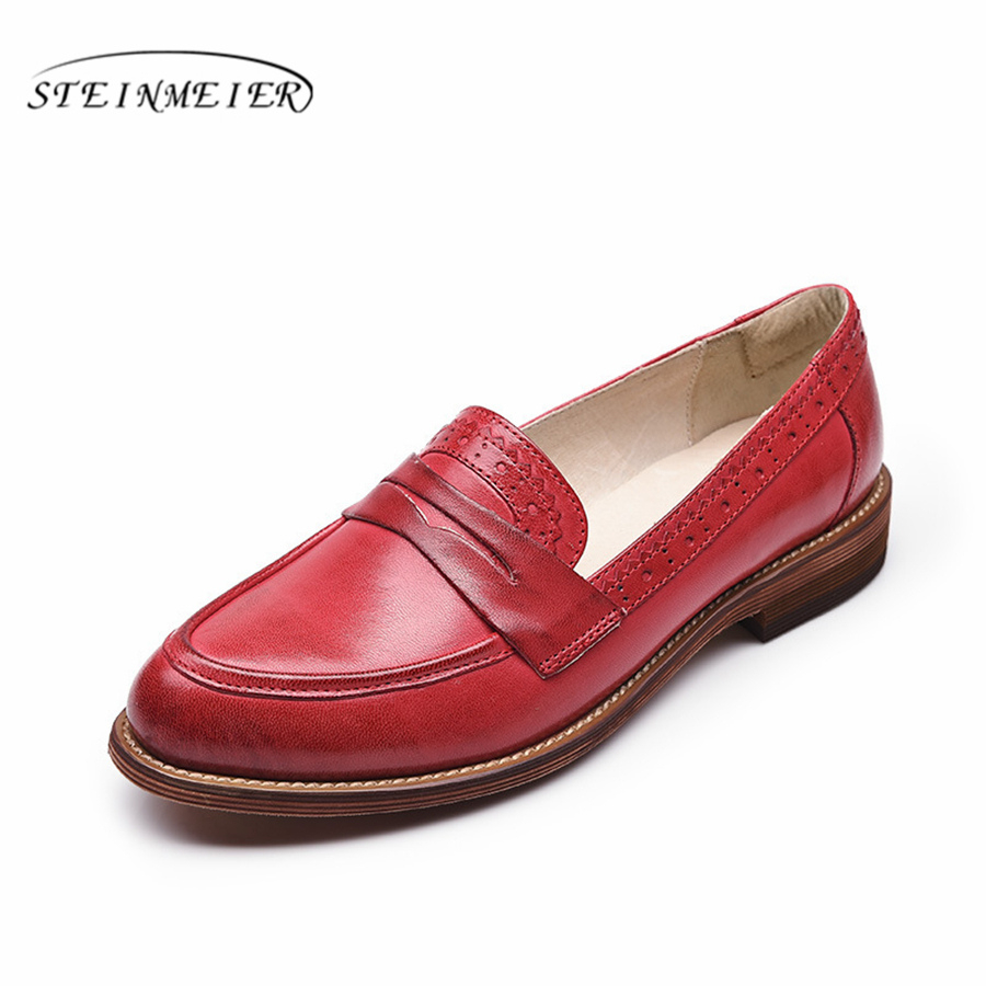 100 Genuine sheepskin leather brogues designer lady vintage flats shoes handmade oxford shoes for women brown