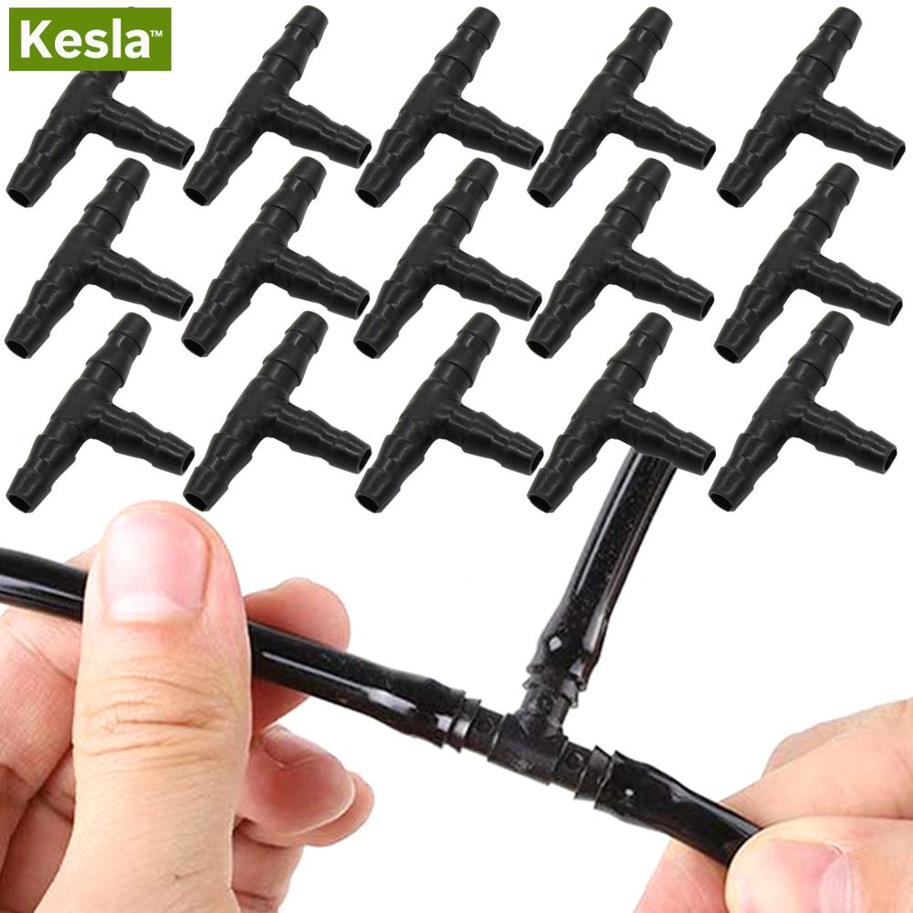 KESLA 20PCS Plastic Dripper Watering Growing Tee 1/4 Inch Hose Connector Joint Hose Outdoor Irrigation Tools For 4mm/7mm Hose