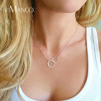 69e151de56f1 E-Manco cruzado doble círculo collar de plata 925 Simple doble círculo  collar de oro de las mujeres joyería fina aro colgante collar